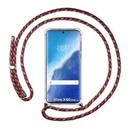 Funda Colgante Transparente para Vivo X60 Pro 5G con Cordon Rosa / Dorado