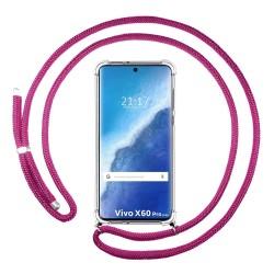 Funda Colgante Transparente para Vivo X60 Pro 5G con Cordon Rosa Fucsia