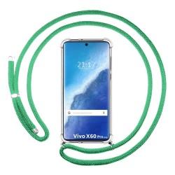 Funda Colgante Transparente para Vivo X60 Pro 5G con Cordon Verde Agua