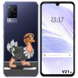 Funda Silicona Transparente para Vivo V21 5G diseño Avestruz Dibujos