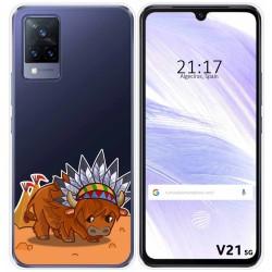 Funda Silicona Transparente para Vivo V21 5G diseño Bufalo Dibujos