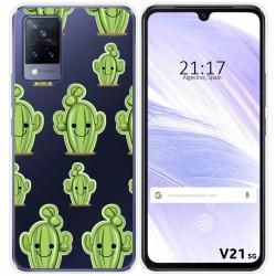Funda Silicona Transparente para Vivo V21 5G diseño Cactus Dibujos