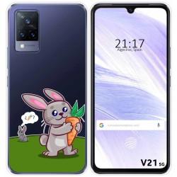 Funda Silicona Transparente para Vivo V21 5G diseño Conejo Dibujos