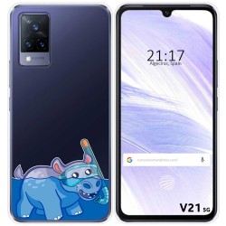 Funda Silicona Transparente para Vivo V21 5G diseño Hipo Dibujos
