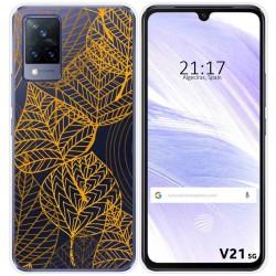 Funda Silicona Transparente para Vivo V21 5G diseño Hojas Dibujos