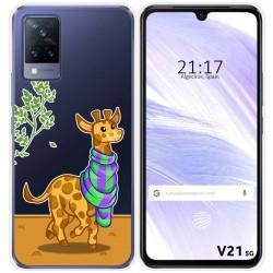 Funda Silicona Transparente para Vivo V21 5G diseño Jirafa Dibujos