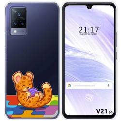 Funda Silicona Transparente para Vivo V21 5G diseño Leopardo Dibujos
