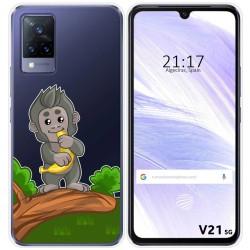 Funda Silicona Transparente para Vivo V21 5G diseño Mono Dibujos