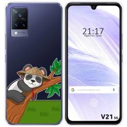 Funda Silicona Transparente para Vivo V21 5G diseño Panda Dibujos