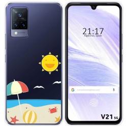 Funda Silicona Transparente para Vivo V21 5G diseño Playa Dibujos