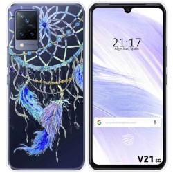 Funda Silicona Transparente para Vivo V21 5G diseño Plumas Dibujos