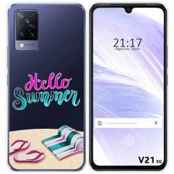 Funda Silicona Transparente para Vivo V21 5G diseño Summer Dibujos