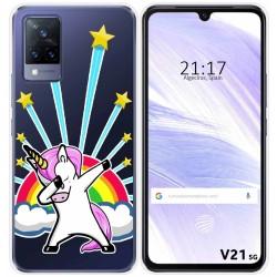 Funda Silicona Transparente para Vivo V21 5G diseño Unicornio Dibujos
