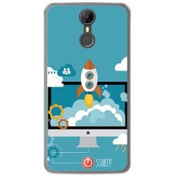 Funda Gel Tpu para Homtom HT27 Diseño Cohete Dibujos