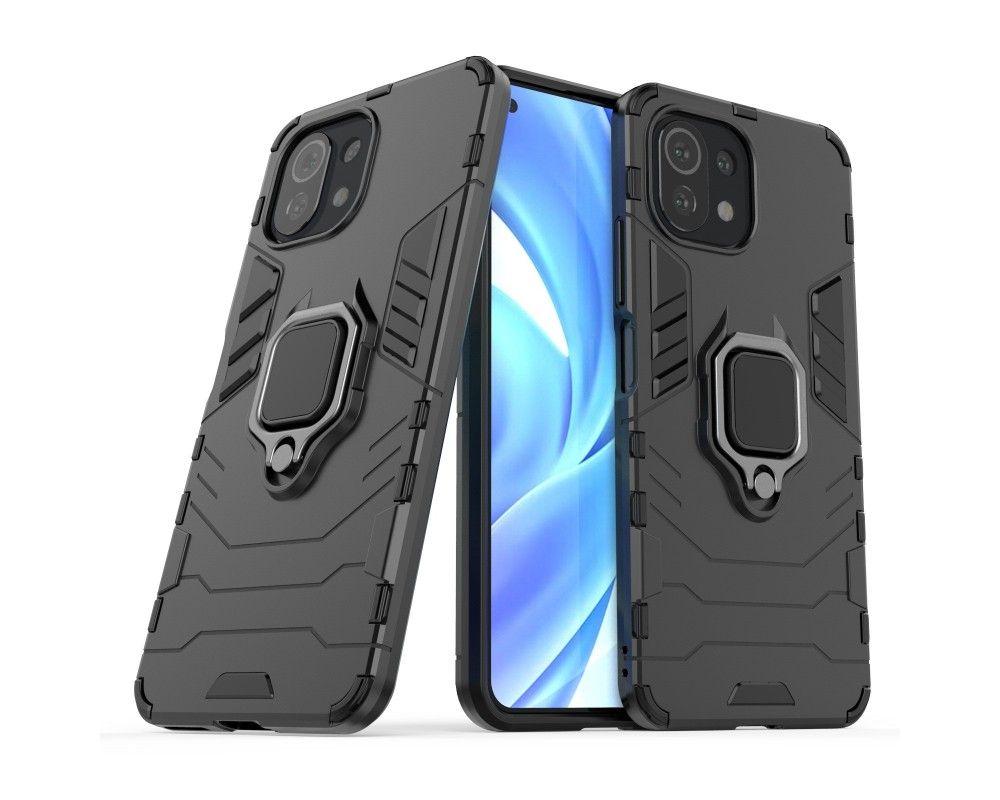Funda Tough Armor con Anillo Giratorio Negra para Xiaomi Mi 11 Lite 4G / 5G