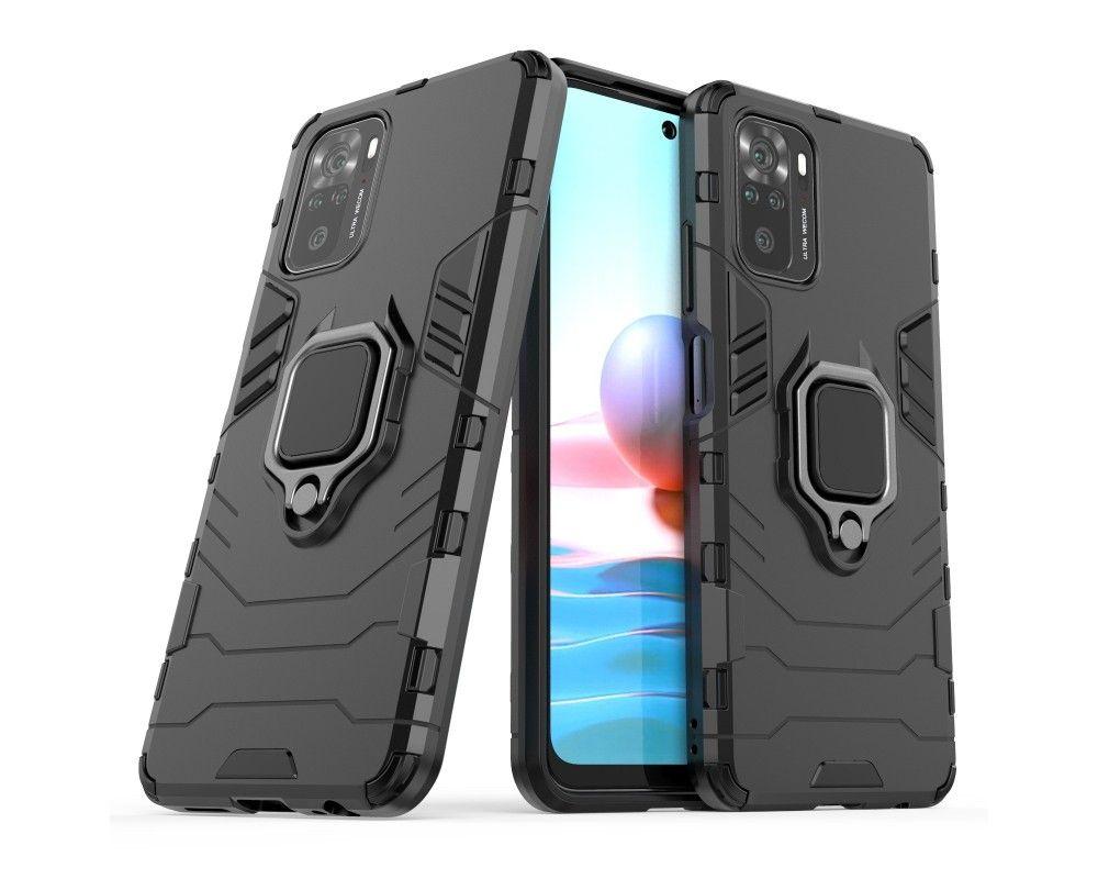 Funda Tough Armor con Anillo Giratorio Negra para Xiaomi Redmi Note 10 / 10S