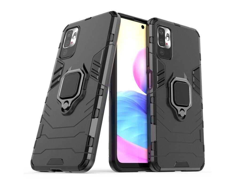Funda Tough Armor con Anillo Giratorio Negra para Xiaomi Redmi Note 10 5G / POCO M3 PRO 5G