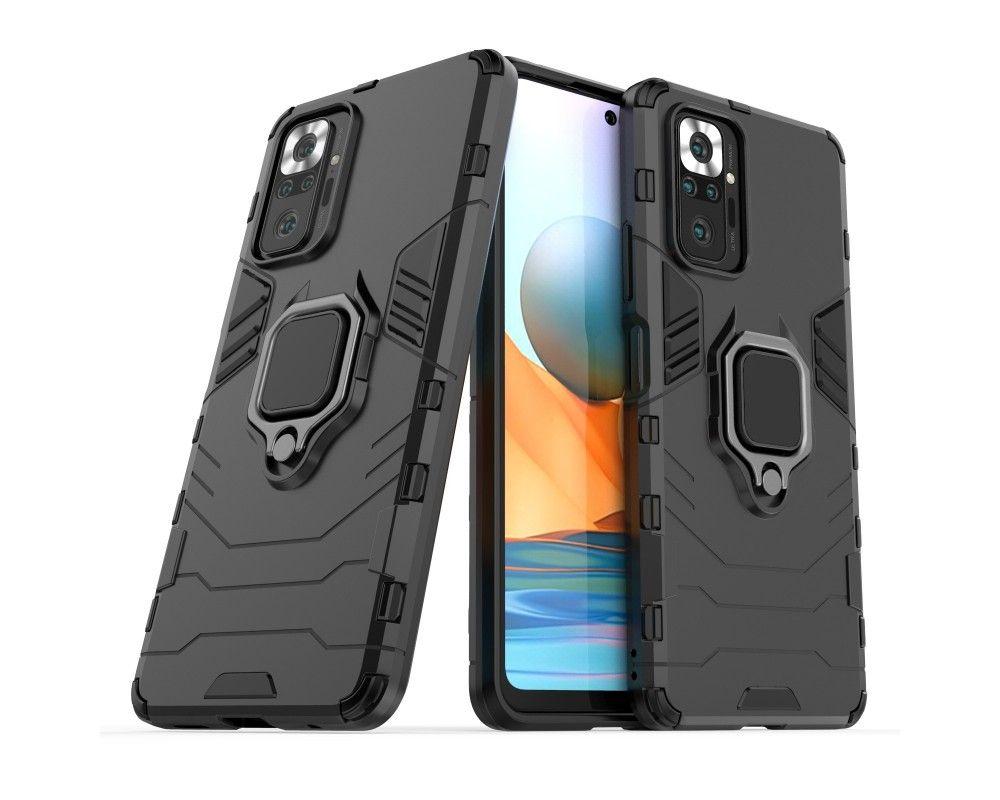 Funda Tough Armor con Anillo Giratorio Negra para Xiaomi Redmi Note 10 Pro