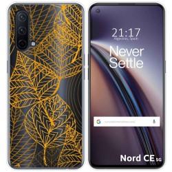 Funda Silicona Transparente para OnePlus Nord CE 5G diseño Hojas Dibujos