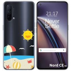 Funda Silicona Transparente para OnePlus Nord CE 5G diseño Playa Dibujos