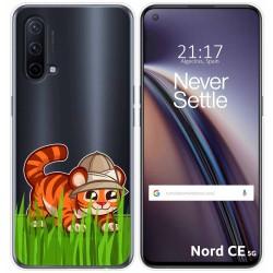 Funda Silicona Transparente para OnePlus Nord CE 5G diseño Tigre Dibujos