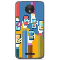 Funda Gel Tpu para Motorola Moto C Plus Diseño Apps Dibujos
