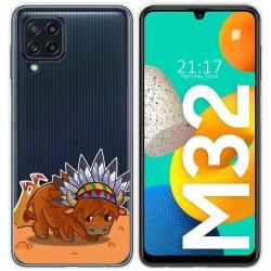 Funda Silicona Transparente para Samsung Galaxy M32 diseño Bufalo Dibujos
