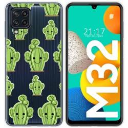 Funda Silicona Transparente para Samsung Galaxy M32 diseño Cactus Dibujos