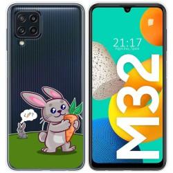 Funda Silicona Transparente para Samsung Galaxy M32 diseño Conejo Dibujos