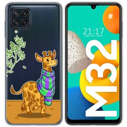 Funda Silicona Transparente para Samsung Galaxy M32 diseño Jirafa Dibujos