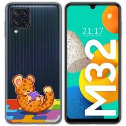 Funda Silicona Transparente para Samsung Galaxy M32 diseño Leopardo Dibujos