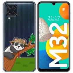 Funda Silicona Transparente para Samsung Galaxy M32 diseño Panda Dibujos