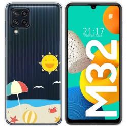 Funda Silicona Transparente para Samsung Galaxy M32 diseño Playa Dibujos