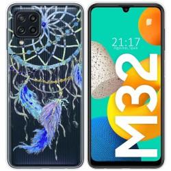 Funda Silicona Transparente para Samsung Galaxy M32 diseño Plumas Dibujos
