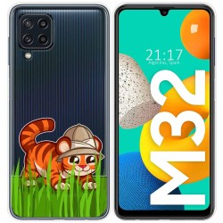 Funda Silicona Transparente para Samsung Galaxy M32 diseño Tigre Dibujos