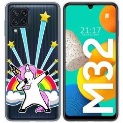 Funda Silicona Transparente para Samsung Galaxy M32 diseño Unicornio Dibujos