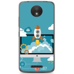 Funda Gel Tpu para Motorola Moto C Plus Diseño Cohete Dibujos