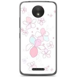 Funda Gel Tpu para Motorola Moto C Plus Diseño Flores Minimal Dibujos