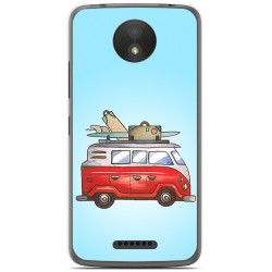 Funda Gel Tpu para Motorola Moto C Plus Diseño Furgoneta Dibujos