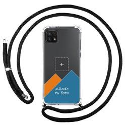 Personaliza tu Funda Colgante Transparente para Samsung Galaxy A22 5G con Cordon Negro Dibujo Personalizada
