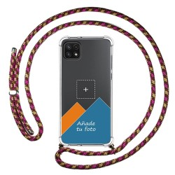 Personaliza tu Funda Colgante Transparente para Samsung Galaxy A22 5G con Cordon Rosa / Dorado Dibujo Personalizada