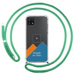 Personaliza tu Funda Colgante Transparente para Samsung Galaxy A22 5G con Cordon Verde Agua Dibujo Personalizada