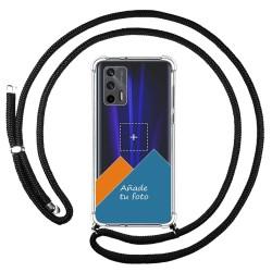 Personaliza tu Funda Colgante Transparente para Realme GT 5G con Cordon Negro Dibujo Personalizada