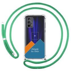 Personaliza tu Funda Colgante Transparente para Realme GT 5G con Cordon Verde Agua Dibujo Personalizada