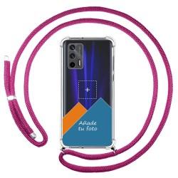 Personaliza tu Funda Colgante Transparente para Realme GT 5G con Cordon Rosa Fucsia Dibujo Personalizada