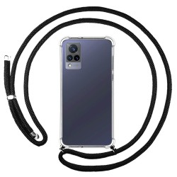 Personaliza tu Funda Colgante Transparente para Vivo V21 5G con Cordon Negro Dibujo Personalizada