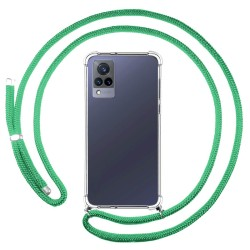Personaliza tu Funda Colgante Transparente para Vivo V21 5G con Cordon Verde Agua Dibujo Personalizada