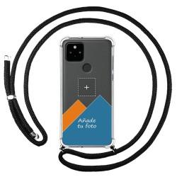 Personaliza tu Funda Colgante Transparente para Google Pixel 5 5G con Cordon Negro Dibujo Personalizada