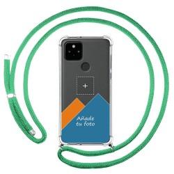 Personaliza tu Funda Colgante Transparente para Google Pixel 5 5G con Cordon Verde Agua Dibujo Personalizada