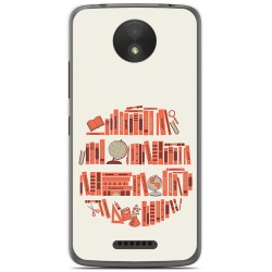 Funda Gel Tpu para Motorola Moto C Plus Diseño Mundo Libro Dibujos